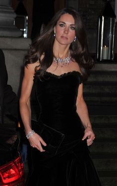 A stunning multi-colour diamond necklace stands out against Kate's black gown at The Sun Military Awards in 2011. Image (C) Getty/AP/PA/Splash/Reuters/Wenn/Rex