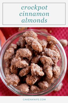 Crockpot Cinnamon Almonds are the holiday snack everyone craves, all made in your slow cooker. The sweet spiced nuts make for a fantastic snack to set out for gatherings, or package them up to gift tofriends and family. | cakenknife.com #slowcooker #instantpot #crockpotalmonds #holidayfoodgift Nut Recipes, Almond Recipes, Slow Cooker Recipes, Sweet Recipes, Cake Recipes, Dessert Recipes, Recipes Appetizers And Snacks, Easy Snacks, Yummy Snacks