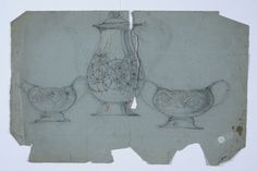 Early pencil sketch of coffee set in silver with enamel stylized rose design. 1905-1910. Tegning @ DigitaltMuseum.no