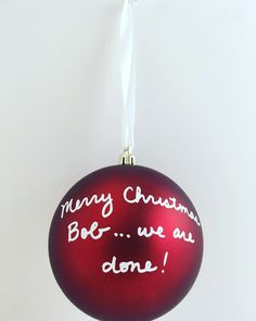 personalized handwriting break up christmas ornament