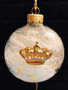 It's Good to be the Queen! Brass Crown Ornament with Aurora Borealis Swarovski Crystals. Created & Designed by Genevieve's Garden Xmas Ornaments, Christmas Bulbs, Raphael Angel, Aurora Borealis, Iridescent, Swarovski Crystals, Brass, Crown, Shapes