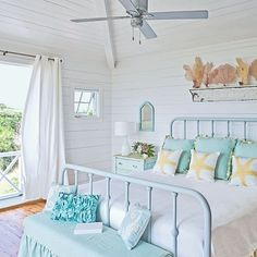 Understated Bedroom - 20 Beautiful Beach Cottages - Coastal Living large piece of crown molding used #coastalbedroomscolors