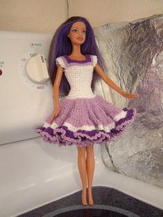 Barbie or 11.5 inch Fashion Doll Crocheted Lavender Dress