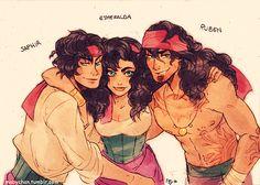 Esmeralda and Genderbends/Siblings by Mabychan