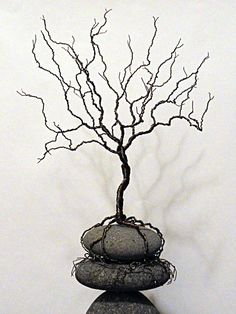 Wire Tree Sculpture River Rocks Stacked Stones Tree of Life