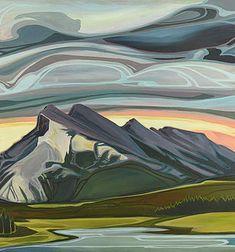 NOUVEAU 7 | E.Hawkes Abstract Landscape, Landscape Paintings, Abstract Art, Landscapes, Sunrise Painting, Impressionism, Painting Inspiration, Painting & Drawing, Art Nouveau