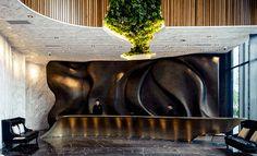 Orchard Road Singapore, Concrete Ceiling, Lobby Bar, White Oak Floors, Black And White Marble, Reception Areas, Hospitality Design, Macau, Hotel Spa