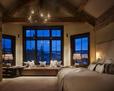 Rustic Wood, Modern Chandelier, Cream and Champagne Color Scheme Bedroom