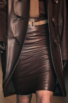 """~ Hermès Paris showing. What a fab leather outfit. Love the skirt and the coat. While most women would consider being """"copied"""" flattering in the way they dress, I do not. For one woman to copy another shows a lack of creativity in that she doesn't know herself fashion-wise. This is why I avoid trends like the plague. Following trends for me is a no-no; I walk my own path with confidence! ~"""