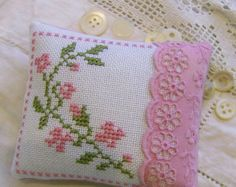 Floral cross stitch pincushion