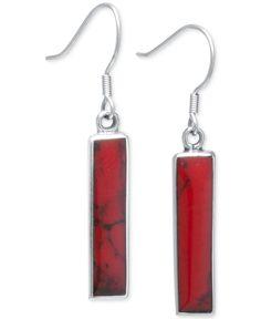 Red Jasper Drop Earrings (19 x 4mm) in Sterling Silver