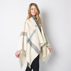 Gifts for the Frequent Fliers: Faribault Woolen Mill Huntley Throw Cape in Cream | $280