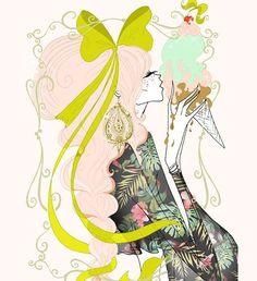 Breakfast miam miam #soniamenti #illustration #fashion #art #summer#artwork #bohemian #bohochic #sexy #bighair #pinkhair #pink #pinkplait#icecream#jewellery #beauty #feminine #jewelry #fashionillustration #gypsy#instart #fashionart #fashiondrawing #fashionillustrator#drawing #tropical#bigbow