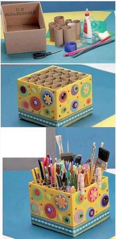 New diy decoracion reciclaje Ideas Diy Home Crafts, Diy Arts And Crafts, Creative Crafts, Fun Crafts, Crafts For Kids, Toilet Paper Roll Crafts, Cardboard Crafts, Cardboard Tubes, Craft Organization