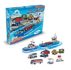 0603.2 - Porto Internacional Navio Cargueiro 8 em 1 | Contém: 801 peças. | Faixa Etária: +6 anos | Medidas: 61,5 x 9 x 46 cm | Jogos e Brinquedos | Xalingo Brinquedos | Crianças