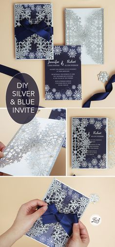 DIY silver glitter and gold snowflake laser cut wedding invites with ribbon Laser Cut Wedding Invitations, Invites, Snowflake Wedding, Reception Card, Response Cards, Blue Ribbon, Silver Glitter, Snowflakes, Gold