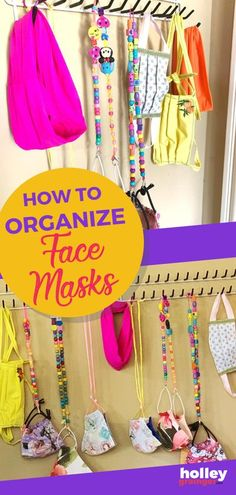 Keep clean face masks easy to grab when you're on the go by hanging on a tie rack. Make personalized lanyards for face masks with beads, cording or ribbon. I'm sharing all the tips for staying clean, sanitized, and organized for back to school. | Holley Grainger - Cleverful Living Parenting Books, Kids And Parenting, Parenting Tips, Tie Rack, Clean Face, Christian Parenting, Lanyards, Stress And Anxiety, Keep It Cleaner