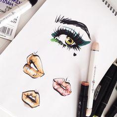"Tanya Chulkova   illustrator auf Instagram: ""#tanyachulkova #fashionsketch #fashionillustration #makeup #lips #eye #eyemakeup #набросок #танячулкова #иллюстрация #макияж"""