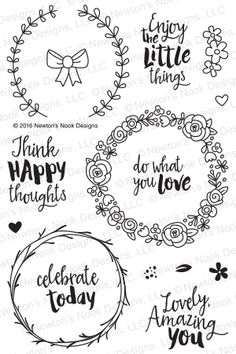 Newton'S nook designs happy little thoughts clear stamp set 20160501 zoom image my journal, journal Wreath Drawing, Simon Says Stamp, Bullet Journal Inspiration, Clear Stamps, Doodle Art, Word Art, Embroidery Patterns, How To Draw Hands, Stickers