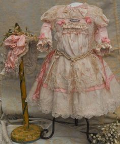 ~~~ Most Beautiful French Bebe Silk Costume with Lace Bonnet ~~~
