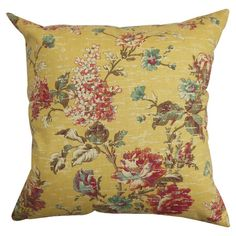 Pillow with a weathered hydrangea and rose motif.  Product: PillowConstruction Material: Polyester, cotton and d...