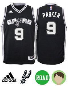 657330bdf Kid s Tony Parker  9 Road Black Jersey San Antonio Spurs