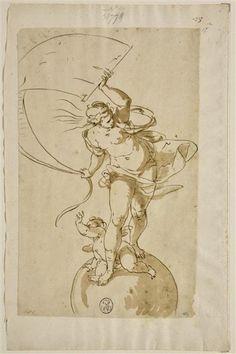 Vénus debout sur le globe du monde, avec l'Amour à ses pieds - CAMBIASO Luca