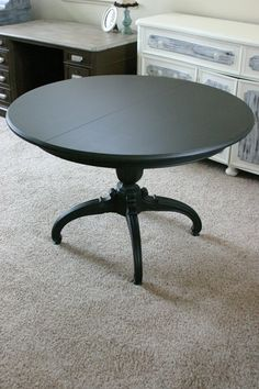 Black-painted dining table
