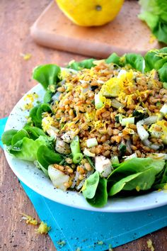 Teff is a great little gluten-free grain, and it stars in this delicious-looking Chia Teff Salad with Lemon Scallion Dressing. You can sub brown or wild rice or quinoa, too (but do try teff!)
