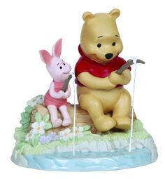 "Precious Moments 5"" Disney Winnie The Pooh & Piglet Fishing Collectible Figurine"