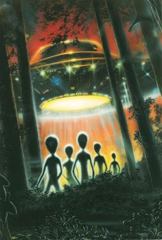 Aliens forest flying saucer