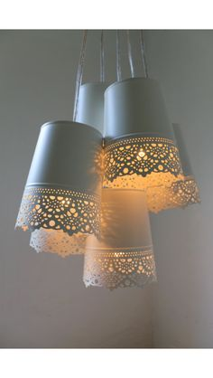 Pretty pendant light made from Ikea tins