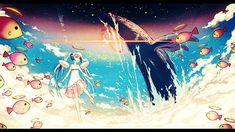 雲の上の初音ミクとクジラのファンタジーなイラスト壁紙画像