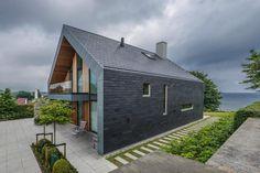 Villa P - House in Denmark with a rainscreen cladding facade Rainscreen Cladding, Brick Cladding, Cladding Systems, Stone Facade, Villa, Scandinavian Home, Exterior Design, Modern Architecture, Gallery