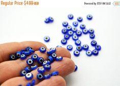 Blue Evil Eye 6mm Flat Glass Beads From by PrettyTurkishThings