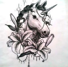 70 Elegant Tattoo Designs for Women - Unicorn with Lilies Buddha Tattoos, Tattoos Mandala, Tattoos Skull, Animal Tattoos, Body Art Tattoos, New Tattoos, Sleeve Tattoos, Butterfly Tattoos, Tatoos