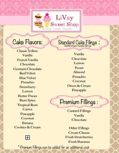 Cake Flavors And Fillings #livaysweetshop #cakecuttingguide