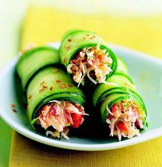 Rouleaux de concombre au crabe Sauce Au Miel, Jus D'orange, Ratatouille, Fresh Rolls, Entrees, Cucumber, Zucchini, Sushi, Buffet