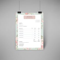 Invoice Pretty Pastel Pattern   Fully Editable Word Document     Invoice Pretty Floral Pattern   Fully Editable Word Document   Instant  Download   Florist   Feminine Invoice  Invoice Template