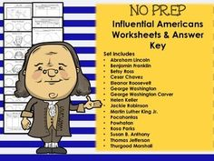 Huge pack of worksheets and answer keys on influential Americans