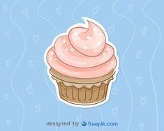 Cupcake cor de rosa, azul, fundo, vetorial, Ilustração