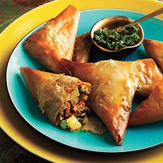 Vegetable Samosas with Mint Chutney. Great PKU option for Zach and low carb for me
