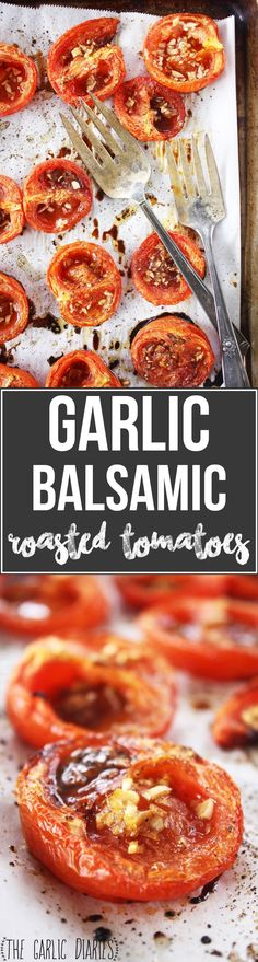 Look at that beautiful little tomato. Stuffed with garlic, drizzled with balsamic vinegar and olive oil, seasoned with salt and pepper, and then roasted for an entir… Quick Recipes, Other Recipes, Low Carb Recipes, Healthy Recipes, Healthy Foods, Roasted Root Vegetables, Roasted Tomatoes, Veggies, No Sugar Added Recipe