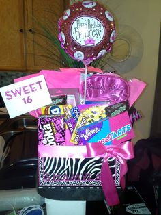 Personalized Sweet 16 Basket Candy Balloon Gift Card And A Cute Box