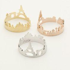 Paris Ring / cityscape ring, paris skyline ring, France ring, souvenir paris, adjustable ring / R140