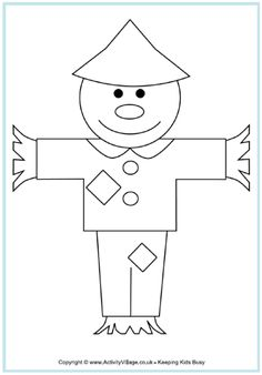 scarecrow colouring page heres a simple cute scarecrow for younger kids to print and colour its just one or a range of scarecrow printables using this