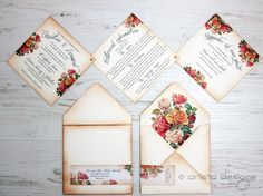 Vintage Wedding invitation Boho Chic Victorian by anistadesigns