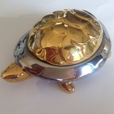 "Gold & Silver Colored Turtle Figurine Marked BROGGI 4.5"" Long"