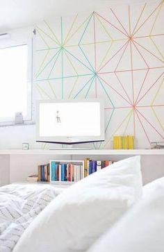 washi tape diy geometric wall with washi tape