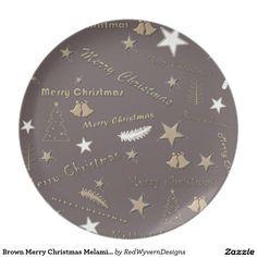 Brown Merry Christmas Melamine Plate